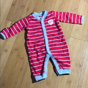 Carter's Valentine's Day Striped Jumpsuit nb